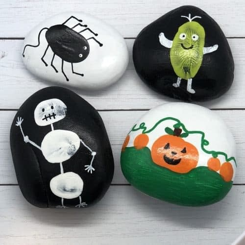 Halloween Rock Painting - crafts for toddler halloween