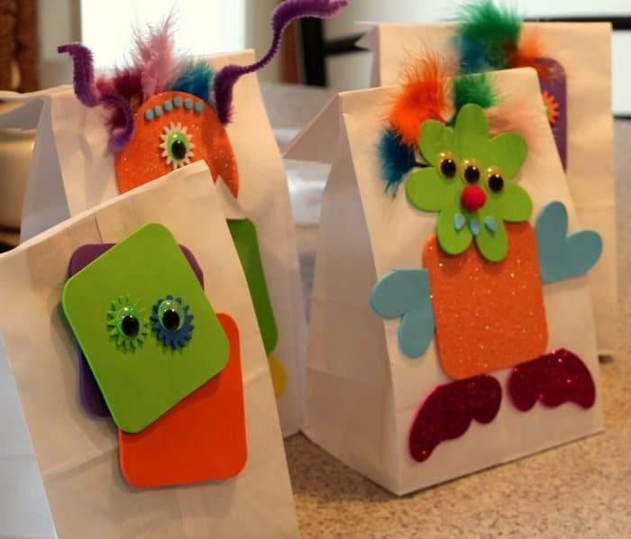 Foam Monster Treat Bags - Halloween craft ideas for toddlers