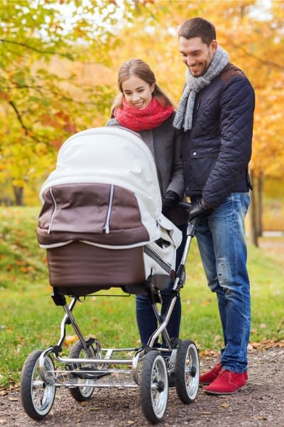 baby in a pram - If you're expecting your first baby, you might be wondering what's the difference between a pram and a stroller. Here we'll uncover the main differences and discover why you'll probably need both - eventually.
