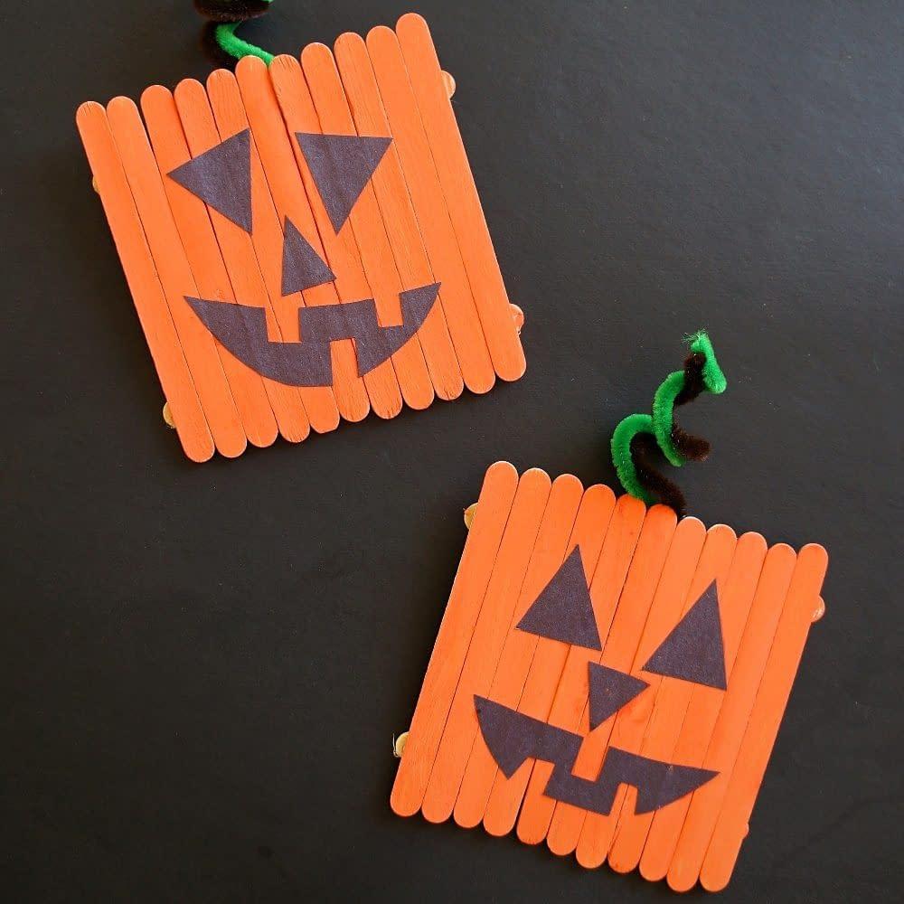 Lolly Stick Pumpkins - toddler halloween craft ideas