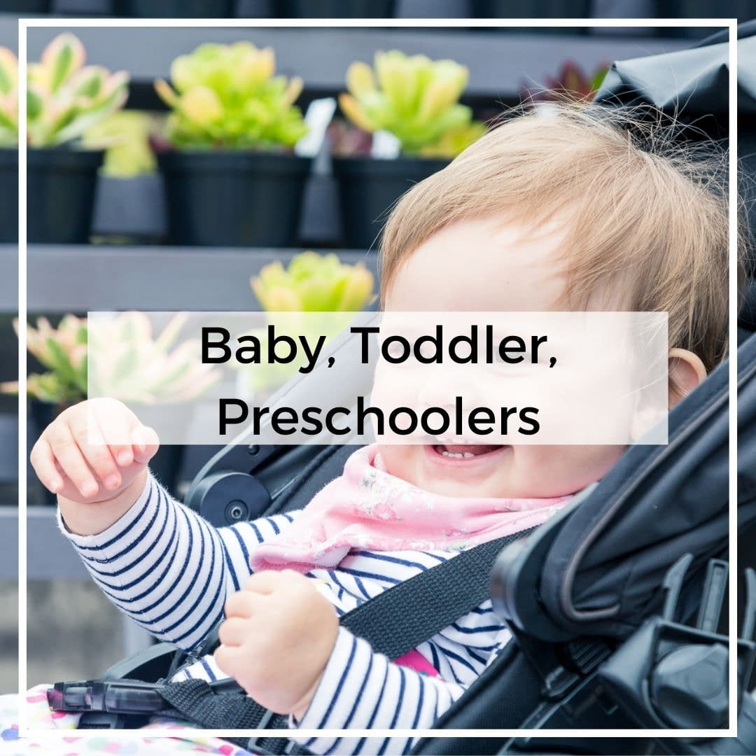 Baby girl in pushchair - Baby, Toddler and Preschoolers category cover image for GinGin and Roo blog