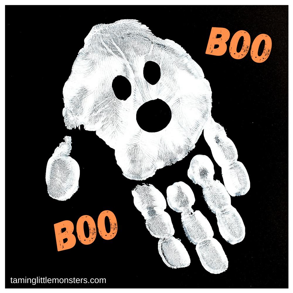 Handprint ghost - toddler Halloween craft ideas