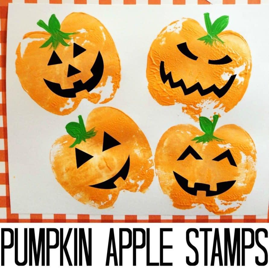 Pumpkin Apple Stamps - halloween craft ideas