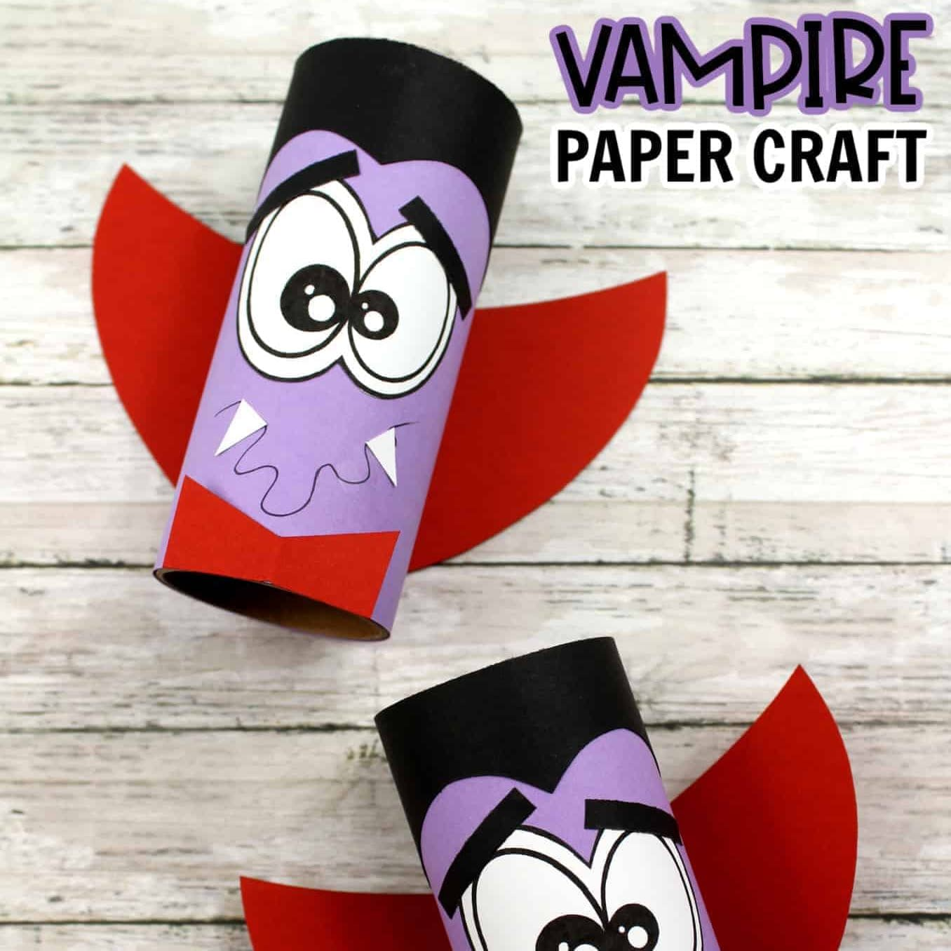 Vampire toilet roll. Halloween craft ideas for toddlers and preschoolers