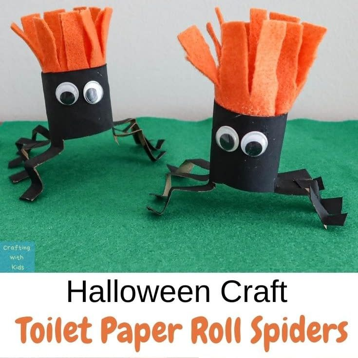 Toilet Roll Spiders - crafts for toddler halloween - crafting with kids