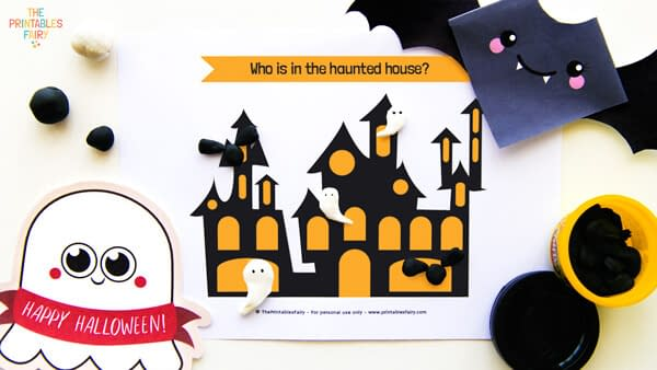 Haunted House Play Doh Mat - Halloween craft ideas for kids