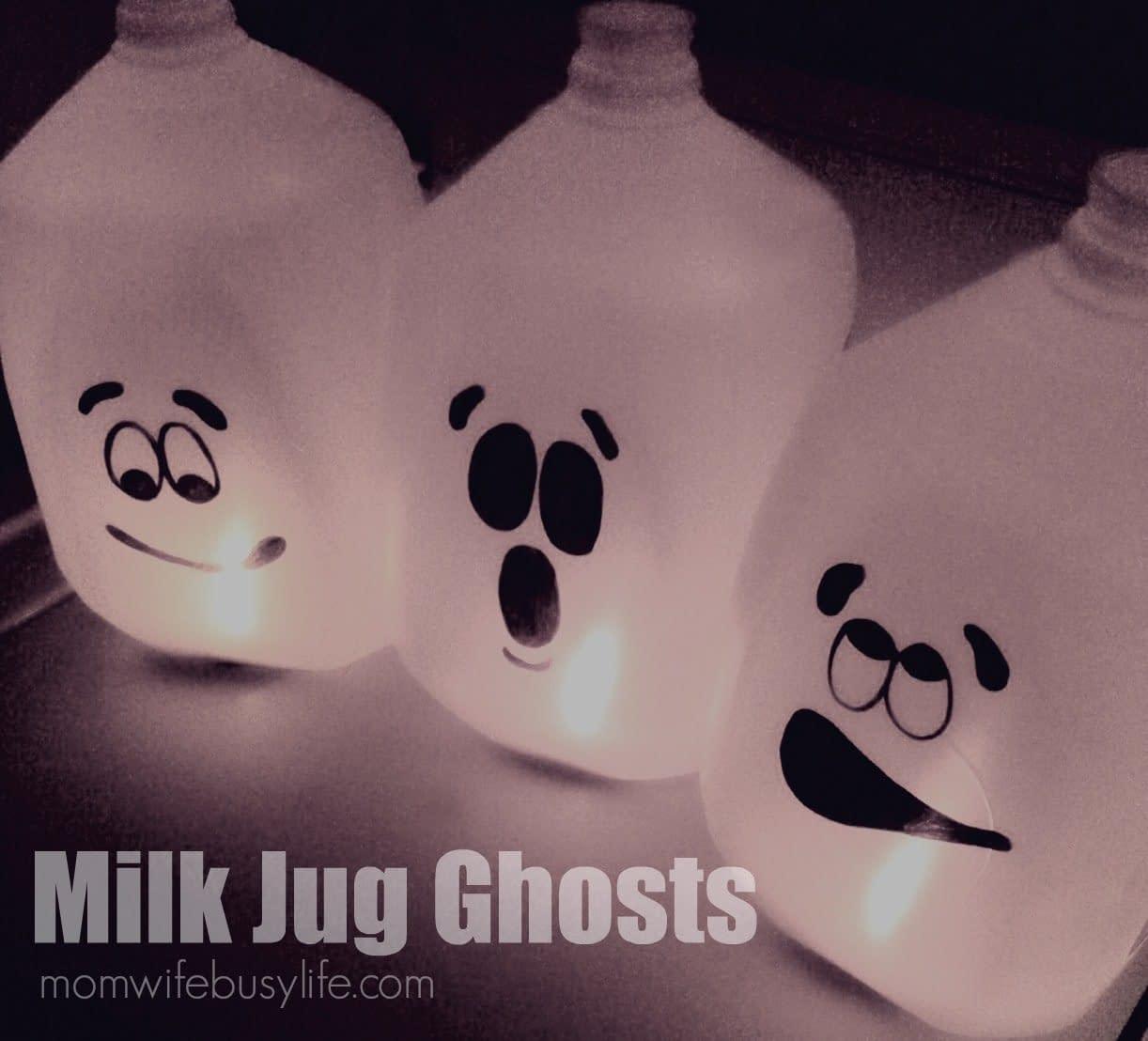 Milk Bottle Ghosts - Halloween crafts for kids
